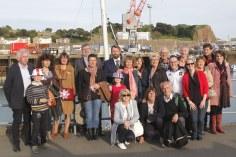 La délégation avranchinaise et nos amis anglo-normands au retour des cérémonies, sur le port de St Helier ville jumelle d'Avranches.