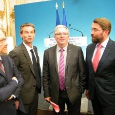 Avec Jean-Paul Ollivier, DRAC de Basse-Normandie, Rodolphe Thomas, maire d'Hérouville-Saint-Clair, et Yves Gouasdoué, député-maire de Flers.