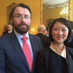 Avec Fleur Pellerin, ministre de la culture, à l'Hôtel de Matignon, le 20 mai 2015, à l'occasion de la réception des signataires de pactes culturels.