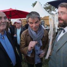 Avec Bernard Tréhet, maire de Brécey, et Rodolphe Thomas, maire d'Hérouville, au festival des Papillons de Nuit, mai 2015
