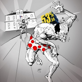 Caricature de Turold diffusée le soir du 23 mars 2014 : David à battu GoliatH...