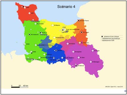 Le scénario 4 de l'ARS (mars 2015) avec les GHT bas-normands dont celui de Saint-Lô qui inclurait le CHAG.