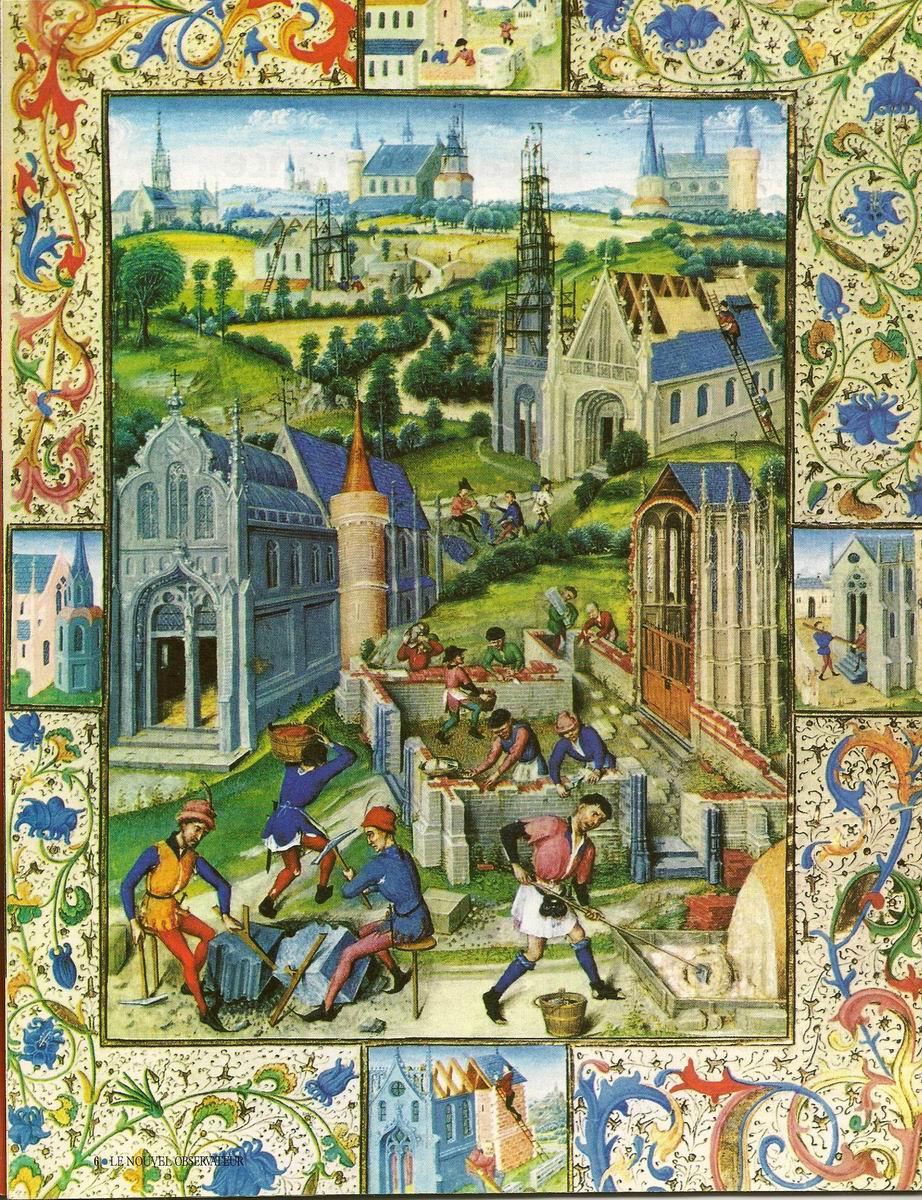Les secrets des cathedrales, p 06, Construction d'une eglise a Saint-Denis (Miniature du XIIIe siecle)